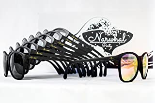'I Do Crew' Sunglasses by Narwhal Party - 8 Pairs of Matte Black Glasses with Rose Mirrored & Grey Lenses are Perfect for Bachelorette Parties, Bridesmaid Gifts, and Bridal Party Favors