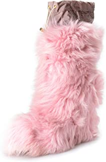 Women's Pink Real Fur Leather Wedges Ankle Boots Shoes US 10 IT 40