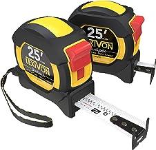 LEXIVON [2-Pack] 25Ft/7.5m DuaLock Tape Measure | 1-Inch Wide Blade with Nylon Coating, Matt Finish White & Yellow Dual Si...
