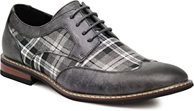 Titan03 Men's Spectator Tweed Plaid Two Tone Wingtips Oxfords Perforated Lace Up Dress Shoes