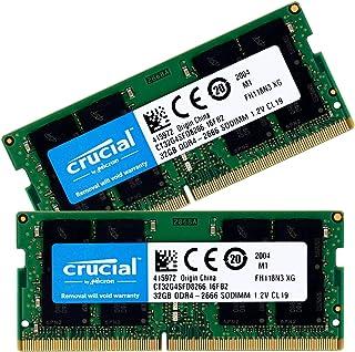 Crucial ノートPC用 メモリ PC4-21300(DDR4-2666) 64GB(32GBx2枚) SODIMM CT32G4SFD8266 [並行輸入品]