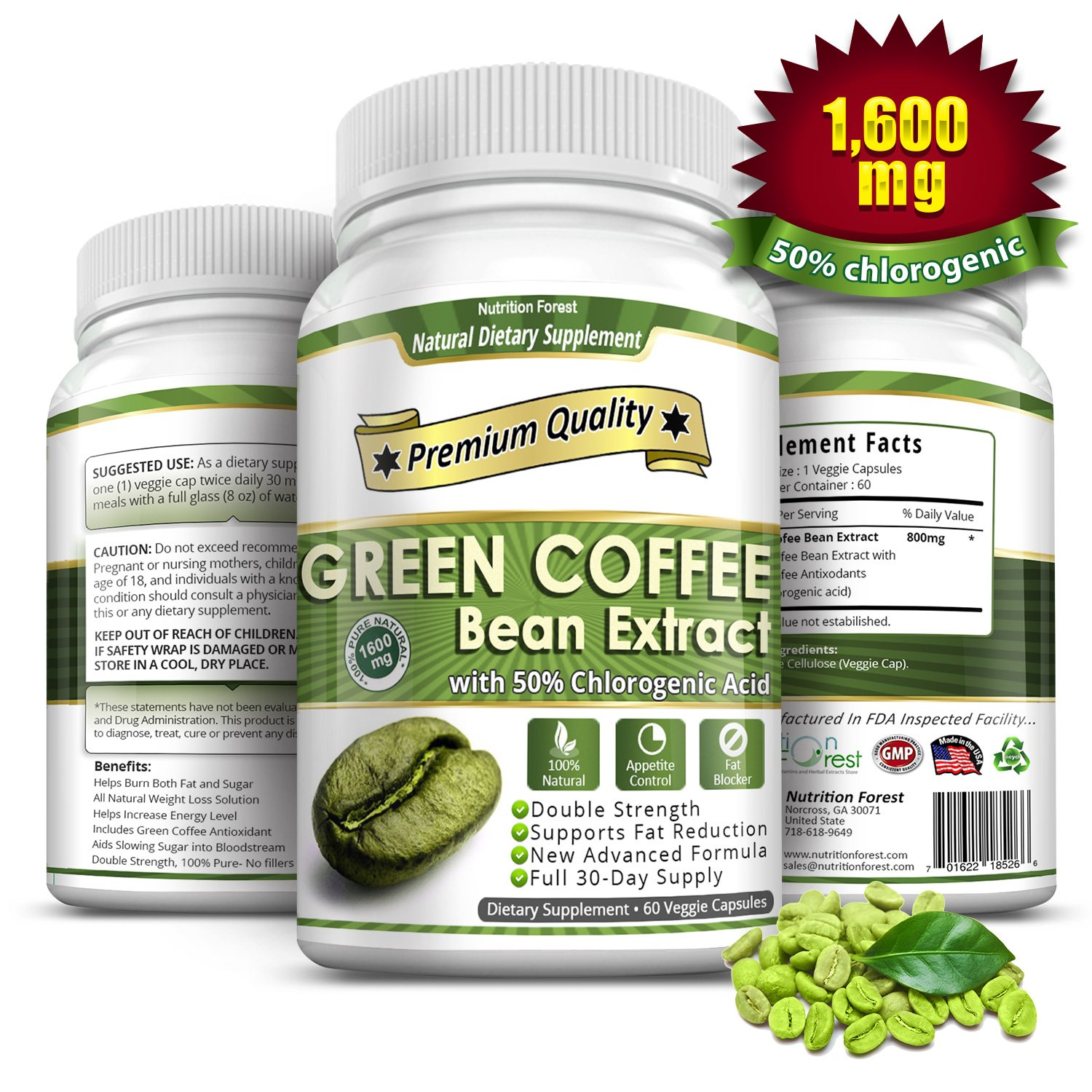 Green Coffee Bean Extract 1600mg With 50 Chlorogenic Acids 60