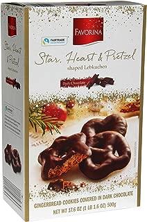 Favorina Dark Chocolate Covered Gingerbread Assortment, Star, Heart & Pretzel Lebkuchen, 17.6 oz (500 grams)