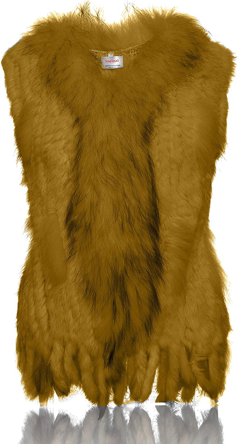 HEIZZI 100% Rabbit Fur Vest with Raccoon Collar Knitted Elegant Soft