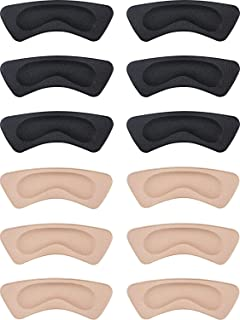 Hotop 6 Pairs Heel Cushion Pads Heel Shoe Grips Liner Self-Adhesive Shoe Insoles Foot Care Protector Black Size: 4.05in /1...