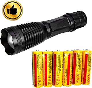 Ultra-bright 18650 flashlight with 6PCS 3.7V 5000mAh Rechargeable Battery,Best waterproof flashlight, adjustable focal length and 5 lighting modes, suitable for outdoor activities. (Flashlight)