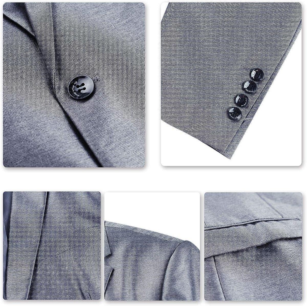 Mens Slim Fit Suit Classic 3 Piece 2 Button Dress Suits Pure Color Formal Blazer Waistcoat Pants