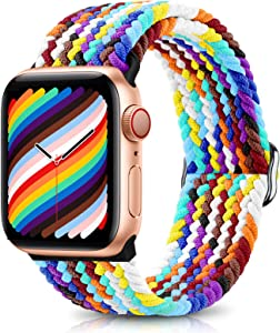 ShunDee Braided Solo Loop Sport Band Compatible with Apple Watch Bands 38mm 40mm 42mm 44mm Women Men, Adjustable Soft Stretchable Elastics Strap for iWatch Series 3/6/5/SE/4/2/1 Replacement Wristband
