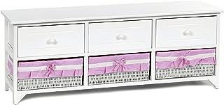 ts-ideen Aparador Blanco Estilo rústico con 3 cajones 3 cestas con Tela Color Rosa y Blanco