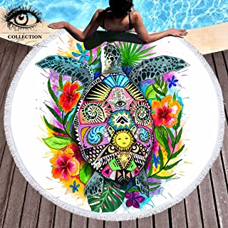 Turtle Life by Pixie Cold Art Tortoise Towel Colorful Bohemian Beach Blanket with Tassels Turtle Floral
