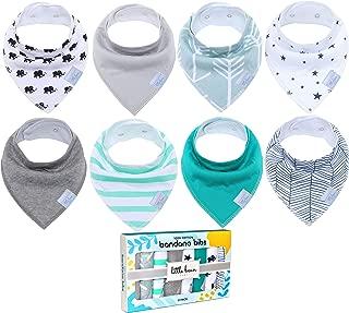 Little Bean Baby Bandana Drool Bibs (8 Pack) - Extra Soft, 100% Cotton and Fleece - Super Absorbent Baby Bandana Bibs - Perfect Teething Bibs - Bandana Bibs for Boys, Girls