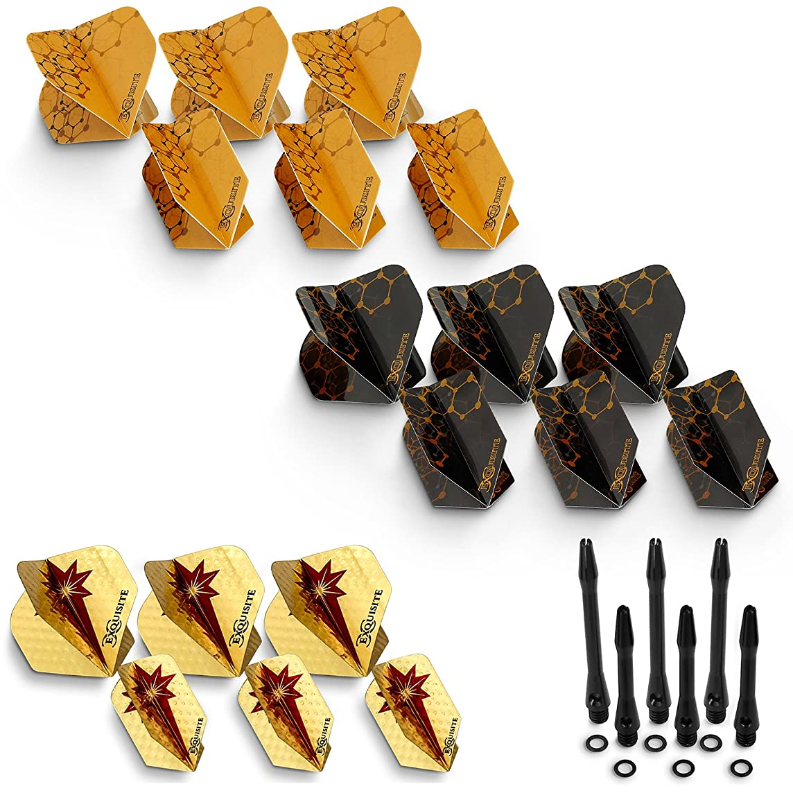 CC-Exquisite Dart Accessories Kit with Shafts and Flights - 18 Standard/Slim Flights | 6 Short/Medium Aluminum Shafts and 6 O-Rings | Darts Supplies Set | Tune Up Kit