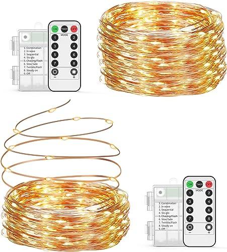 Guirlande Lumineuse à Piles 2 * 10M/200 LED, OxaOxe Guirlande Led, Imperméable IP65 Étanche, Décoration Intérieur et ...