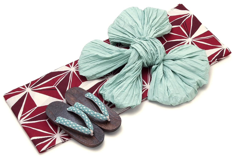 レディース浴衣セット[浴衣/兵児帯] bonheur saisons 赤 レッド 生成り色 薄緑色 麻の葉 綿麻 浴衣セット 女性 フリーサイズ