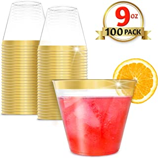 EcoEarth 9 Oz Gold Rimmed Plastic Cups (100 Pack), Premium Clear Plastic Disposable Party Cups with an Elegant Gold Rim, Ideal for Weddings and Special Occasions