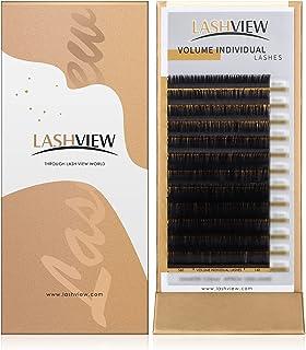 Sponsored Ad - LASHVIEW 0.07 Thickness C Curl 8-15mm Mixed Tray Volume Faux Mink Eyelash Extensions Silk Individual Lash E...