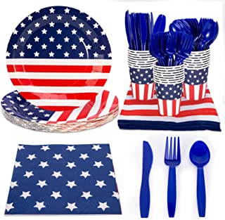 HobbyLane 4th of July American Flag Decorations, Dinnerware Set Party Decorations for Patriot, Includes Plates, Napkins, C...