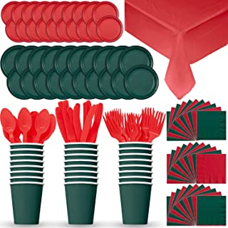 Disposable Paper Dinnerware for 24 - Red & Green (Holiday) - 2 Size Plates, Cups, 2 Napkins, Cutlery (Spoons, Forks, Knives), and tablecovers - Full Party Supply Set