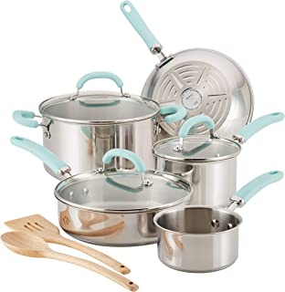 Rachael Ray 70412 Create Delicious Cookware Pots and Pans Set, 10 Piece, Stainless Steel with Light Blue Handles