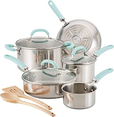 Rachael Ray Create Delicious Stainless Steel Cookware Set, 10-Piece Pots and Pans Set, Stainless Steel with Light Blue Handle