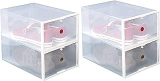 ITIDY Shoe-Boxes-Clear-Plastic, Shoe Box for Women and Men Size, Foldable Stackable Shoe Container, Closet Shelf Shoe Organizer, 4pk, Large Size