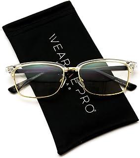 b7cad22e7c4 WearMe Pro - Rectangular Clubmaster Prescription Friendly Semi-Rimless Clear  Glasses