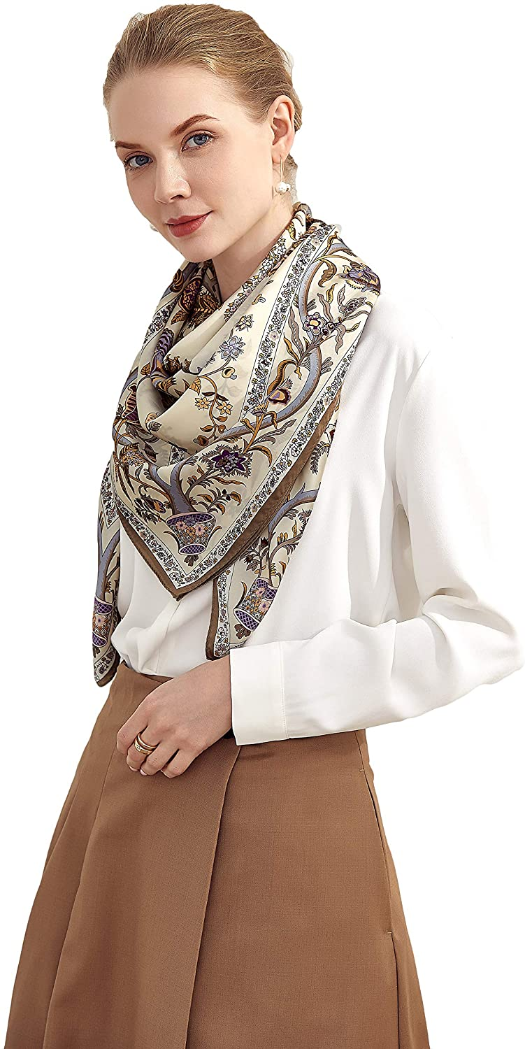 Grace Scarves 100% Silk Scarf Ultra-Cheap Deals Extra-Large Wit Beanstalk Creme New product!!