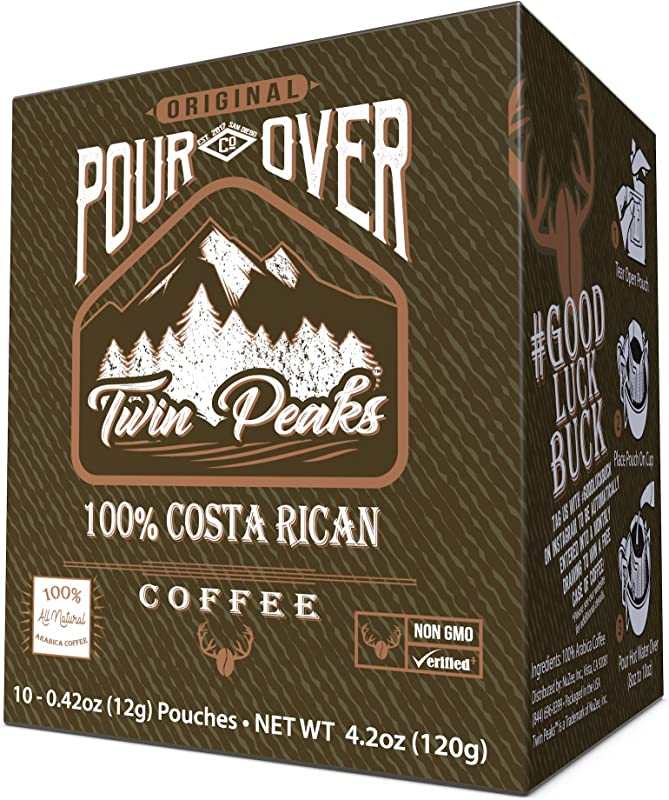 Twin Peaks 100 Costa Rican Single Serve Pour Over Coffee Pouches 10 Count Box