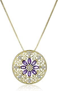 """18k Yellow Gold-Plated Sterling Silver Gemstone & Filigree Pendant Necklace, 18"""""""