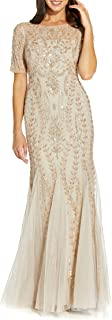 Women's Beaded Gown with Godets