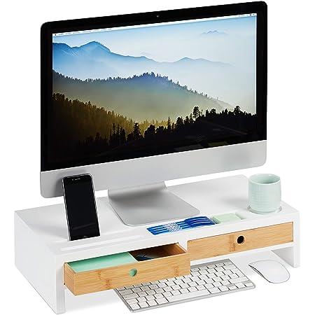 Relaxdays Support moniteur, 2 tiroirs, Rehaussement PC pour bureau; Bambou et MDF HLP: 12 x 55,5 x 27 cm, blanc/nature