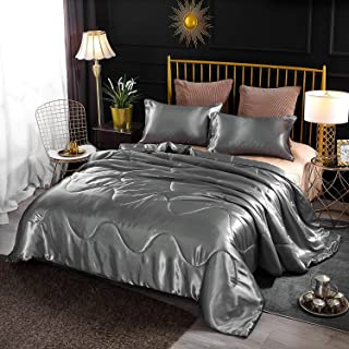Enman-home Holawakaka Luxurious Solid Satin Silk Like Comforter Set Ultra Soft Silky Quilt Breathable Bedding Bed-in-A-Bag Queen Size (Grey)