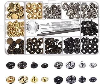 Botones de Presión de Cobre Corchetes de Presión de Ropa sin Coser 39 Set con Herramiento de Reparación para Tela, Manualidades de Cuero (12 mm)
