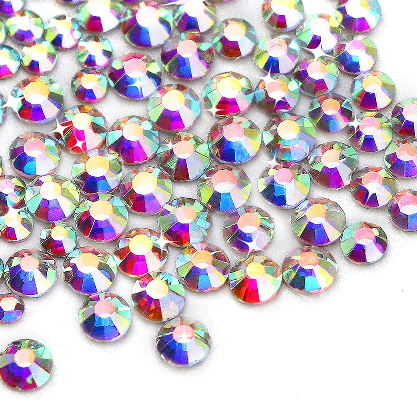3456 pcs Nail Crystals ab Nail Art Rhinestones Round Beads Flatback AB Rhinestones Sizes SS 3 4 5 6 8 10 for Nails Decoration Crafts Eye Makeup Clothes Greeting Cards by Xpeciall(rainbow color)