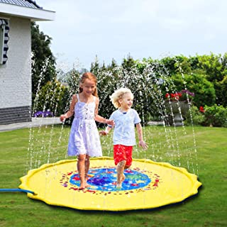 "Sprinkler Pad & Splash Play Mat for Kids, 68"" Toddler Sprinkler Water Toys Inflatable Outdoor Swimming Pool Toy for Boys G..."