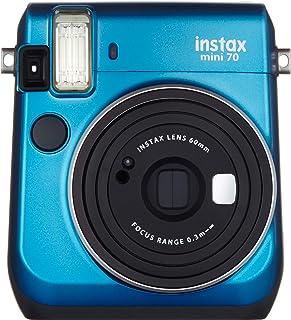 Instax Fujifilm Mini 70 - Cámara Analógica Instantánea (ISO 800 0.37x 60 mm 1:12.7 Flash Automático Modo Autorretrato Exposición Automática Temporizador Modo Macro) Azul Caribe