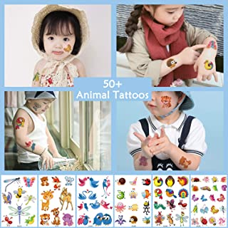 Oottati Glitter Powder Temporary Tattoos for Children - 6 Sheets Fun Sparkle Stickers - 50+ Shining Animal Bird Butterfly Owl Bee Deer Fox Fake Tattoo Designs - Rainbow Flash Waterproof