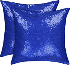 uxcell Pack of 2,Sequin Throw Pillow Covers,Shiny Sparkling Comfy Satin Cushion Covers,Decorative Pillowcases for Party/Christmas/Thanksgiving/New Year,16 inches x 16 inches,Royal Blue
