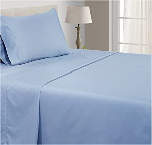 CHATEAU HOME COLLECTION 800-Thread-Count Egyptian Cotton Deep Pocket Sateen Weave Sheet Set (Twin, French Blue)