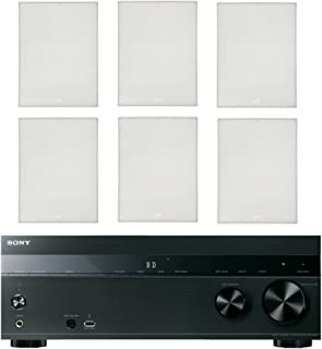 """Sony 5.2-Channel 725-Watt 4K A/V Home Theater Receiver + Polk 8"""" 2 Way High-Performance Natural Surround Sound In-Wall Speaker System (Set Of 6)"""