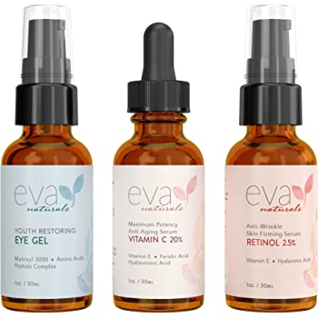 Eva Naturals Facelift in a Bottle - 3-in-1 Anti-Aging Set with Retinol Serum, Vitamin C Serum and Eye Gel - Formulated to Reduce Wrinkles, Fade Dark Spots and Treat Under-Eye Bags - Premium Quality