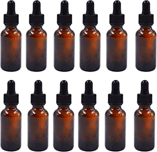 1oz Amber Boston Glass Bottles with Glass Dropper for Essential Oils, Pack of 12 …