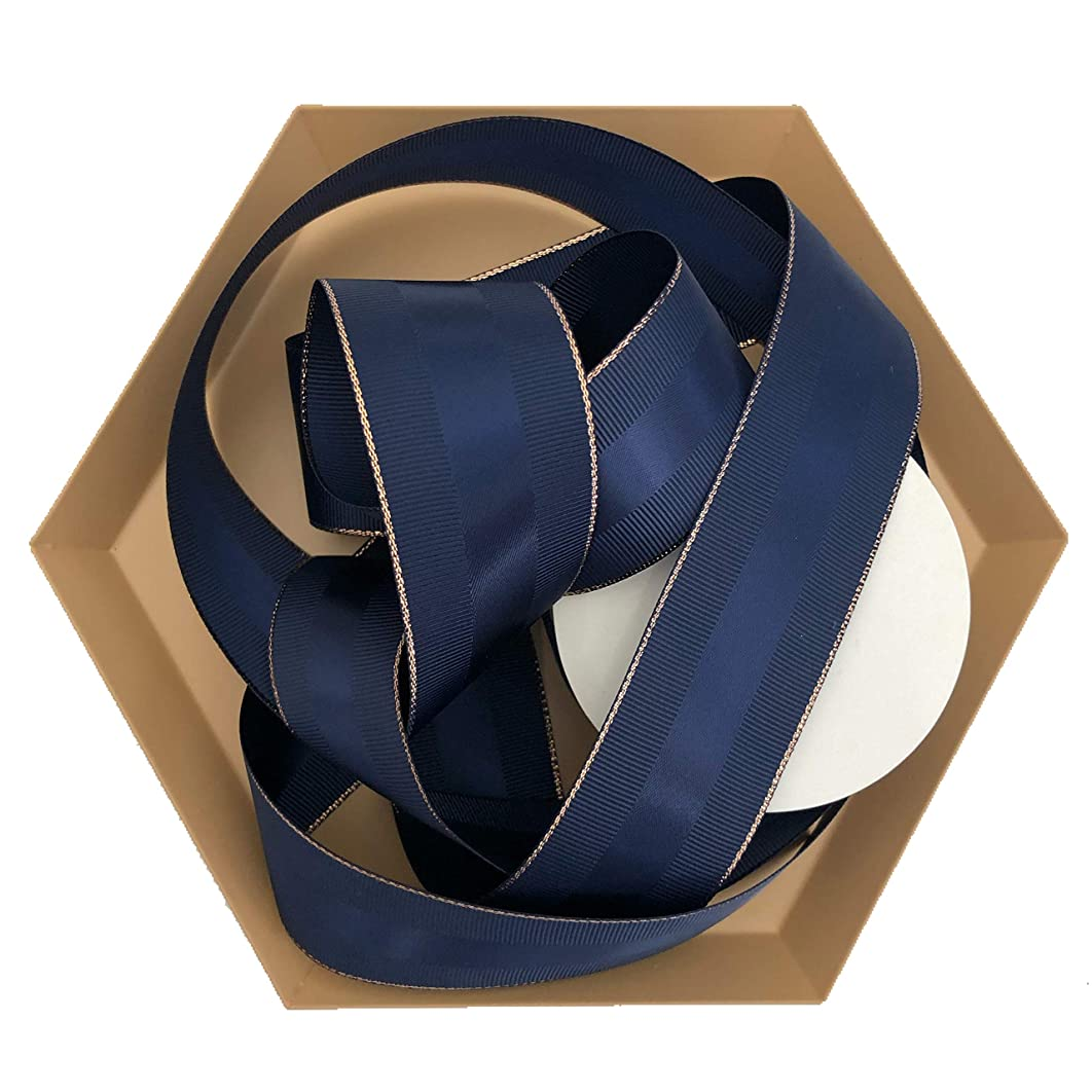 Navy Blue Grosgrain Ribbon 1.5 inch, 30 Yards, 10 Yards Per Roll, 3 Rolls | Rose Gold Trim, Double Face, 1 1/2 Inch, Finely Woven Premium Fabric Ribbon | for Corporate Gifts, Men's Gifts, Crafts