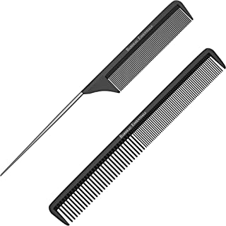 """Styling Comb and Rattail Comb Set   Professional 8.75"""" Black Carbon Fiber, Anti Static Chemical And Heat Resistant Combs For All Hair Types   Teasing Comb Set For Men and Women   By Bardeau Essentials"""