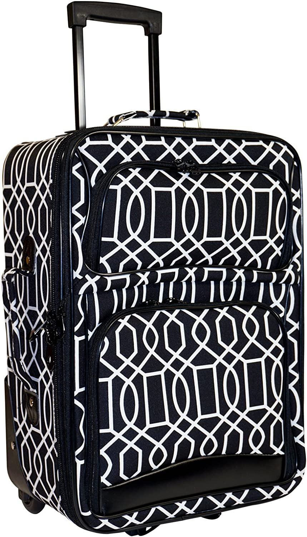 Ever Moda Geometric 2 Piece Luggage Set Grey