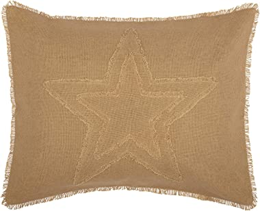 VHC Brands Burlap Star Pillow Sham Cover 100% Cotton Farmhouse Bedding Accessory, Standard 21x37, Tan