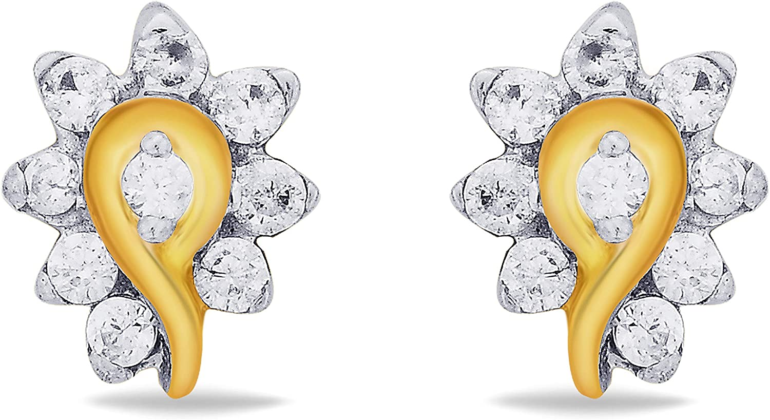 3djewels Women's 0.9 Cts Round Simulated Diamond Dainty Dew Earring In 14K Yellow gold Plated