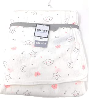 Carters Little Baby Basics Stars/Clouds/Butterflies/Moon | 35 X 35 in | Pink/White Swaddle Blanket