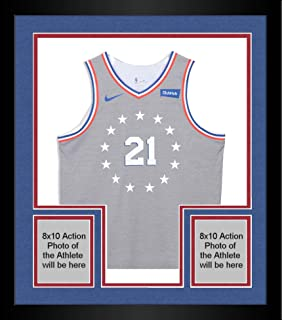 "Framed Joel Embiid Philadelphia 76ers Autographed Game-Used #21 Gray City Jersey vs. Charlotte Hornets on November 9, 2018 with ""Game-Used 11-9-18"" Inscription - Size 52+6 - Fanatics Authentic Certified"