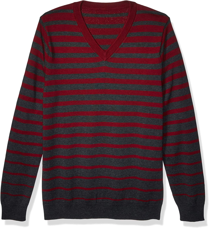 The Knitwear Lab Men's 3D Variegated Stripe V-Neck Sweater